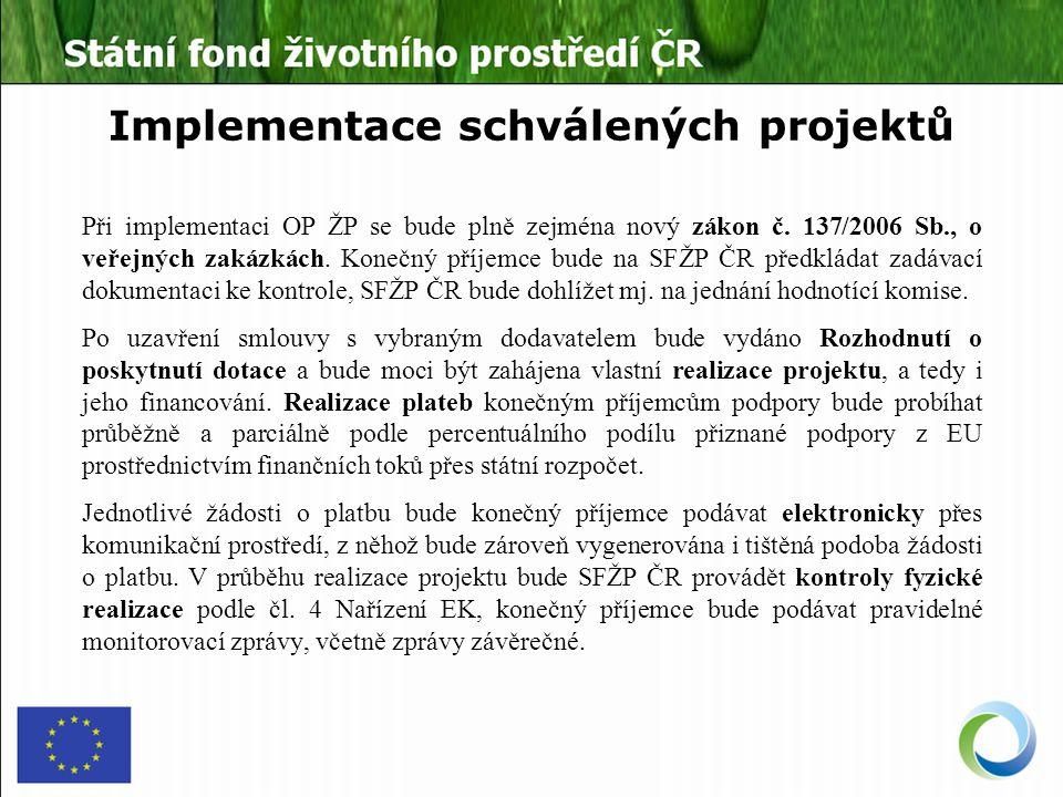 Implementace schválených projektů Při implementaci OP ŽP se bude plně zejména nový zákon č.