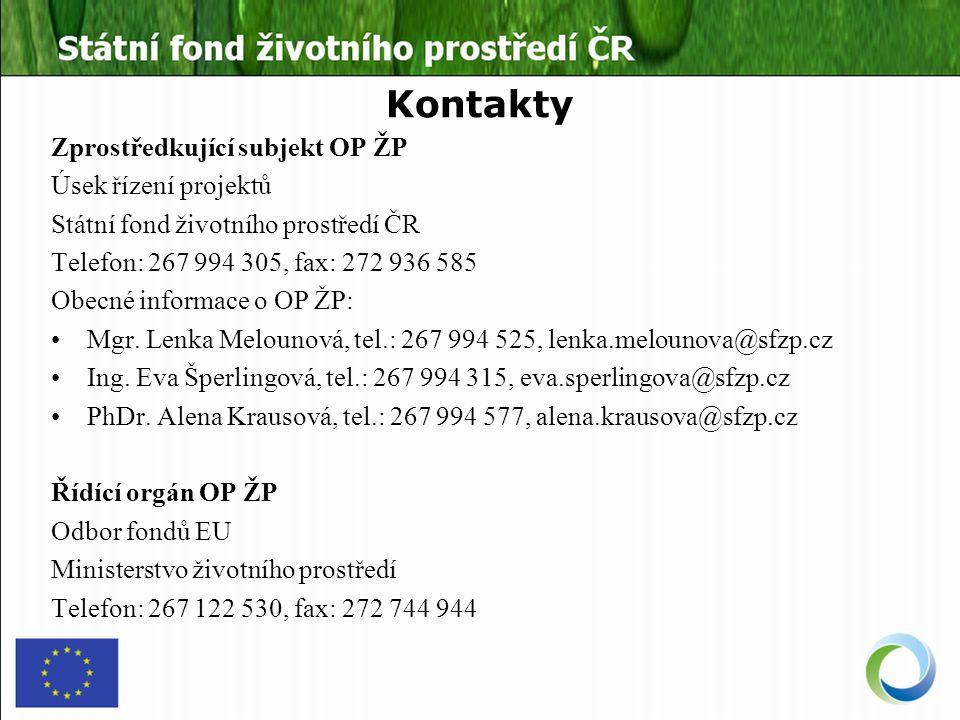 Kontakty Zprostředkující subjekt OP ŽP Úsek řízení projektů Státní fond životního prostředí ČR Telefon: 267 994 305, fax: 272 936 585 Obecné informace o OP ŽP: Mgr.