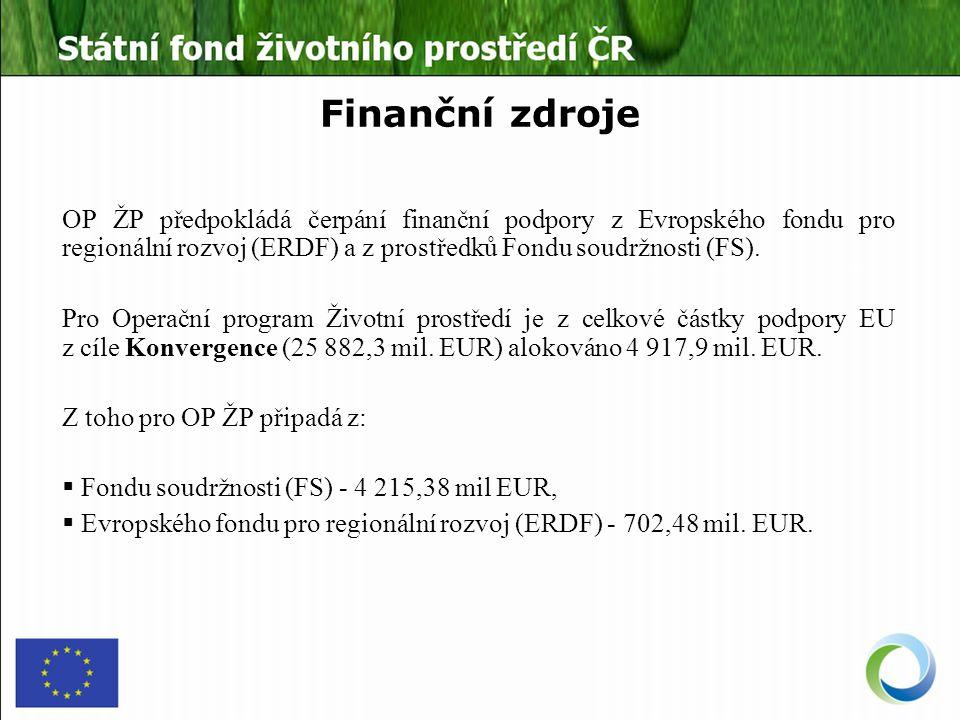 Finanční zdroje OP ŽP předpokládá čerpání finanční podpory z Evropského fondu pro regionální rozvoj (ERDF) a z prostředků Fondu soudržnosti (FS).
