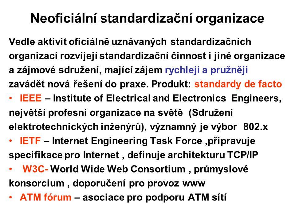 Neoficiální standardizační organizace Vedle aktivit oficiálně uznávaných standardizačních organizací rozvíjejí standardizační činnost i jiné organizac