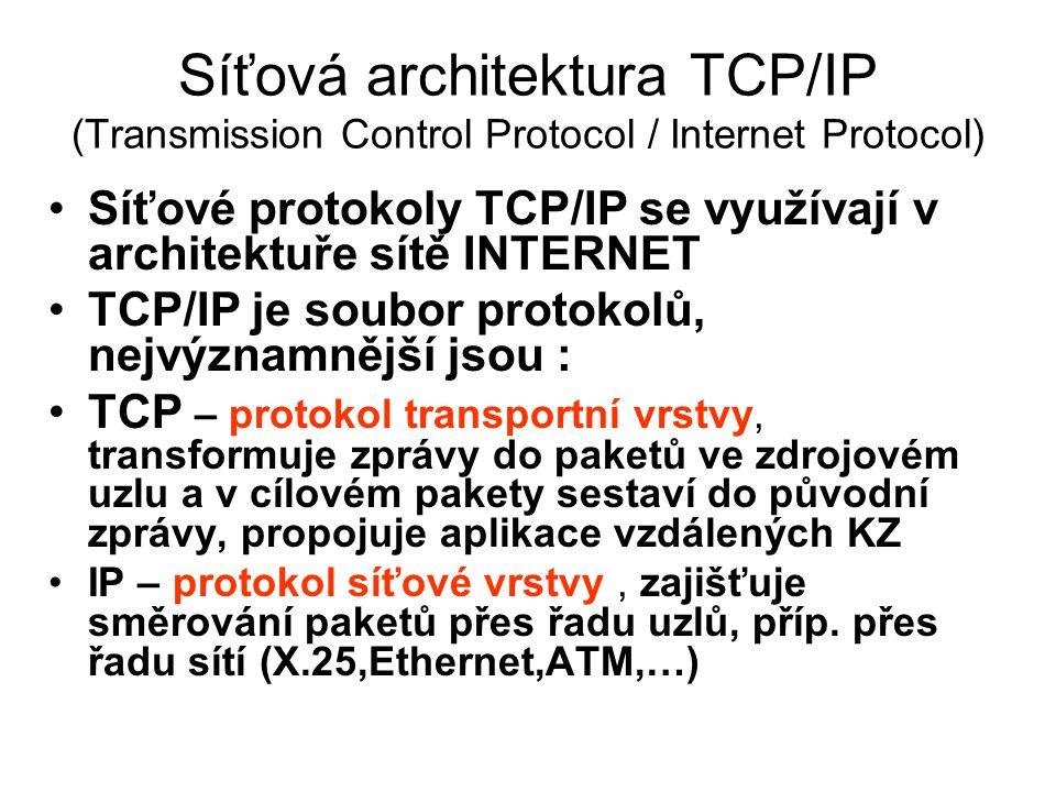 Síťová architektura TCP/IP (Transmission Control Protocol / Internet Protocol) Síťové protokoly TCP/IP se využívají v architektuře sítě INTERNET TCP/I
