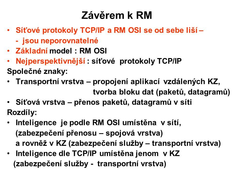 Závěrem k RM Síťové protokoly TCP/IP a RM OSI se od sebe liší – - jsou neporovnatelné Základní model : RM OSI Nejperspektivnější : síťové protokoly TC