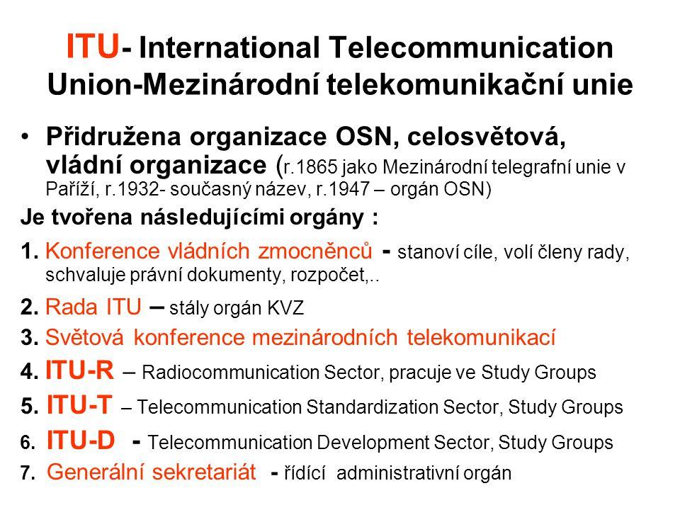 ITU - International Telecommunication Union-Mezinárodní telekomunikační unie Přidružena organizace OSN, celosvětová, vládní organizace ( r.1865 jako M