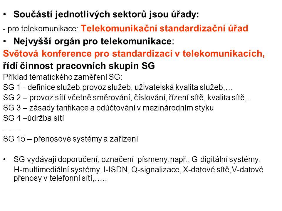 Další mezinárodní organizace zabývající se mezinárodními telekomunikacemi ISO mezinárodní organizace pro standardizaci ( International Organization for Standardization) - nevládní celosvětová organizace, založena v r.1947, sdružuje národní standardizační instituce - spolupracuje s ITU a s evropskými standardizačními telekomunikačními organizacemi
