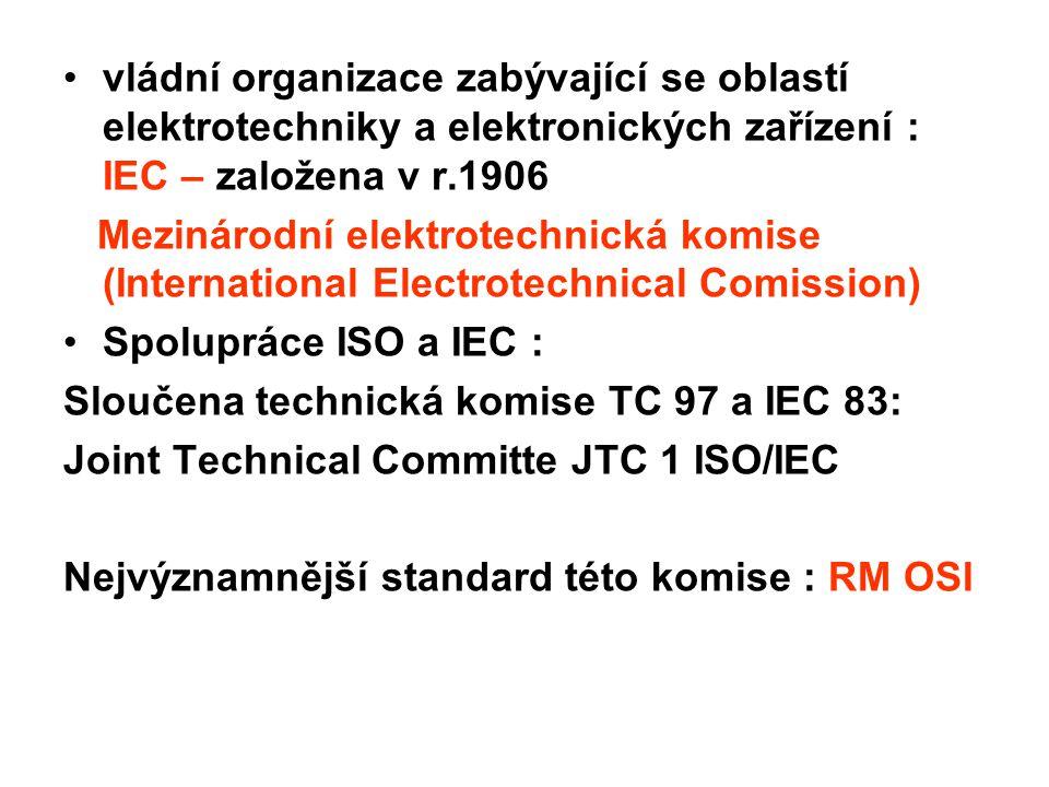 vládní organizace zabývající se oblastí elektrotechniky a elektronických zařízení : IEC – založena v r.1906 Mezinárodní elektrotechnická komise (Inter