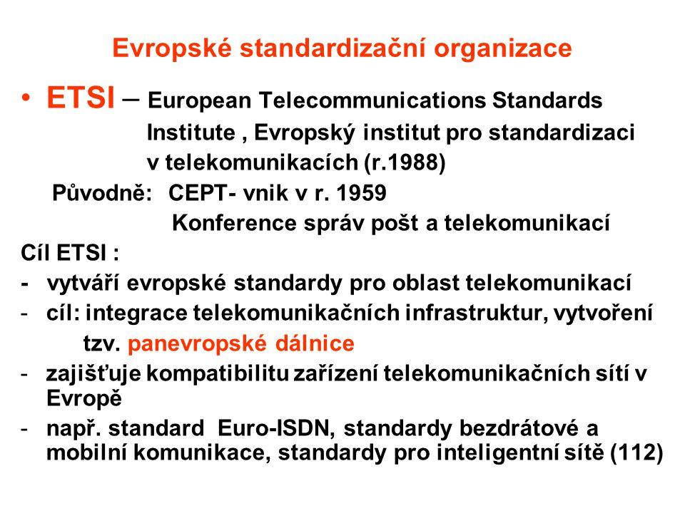 Další evropské standardizační organizace CEN – Evropská komise pro normalizaci, zřízena jako protějšek ISO (r.1961) CENELEC – Evropská komise pro normalizaci v elektrotechnice, zřízena jako protějšek IEC (r.1958)