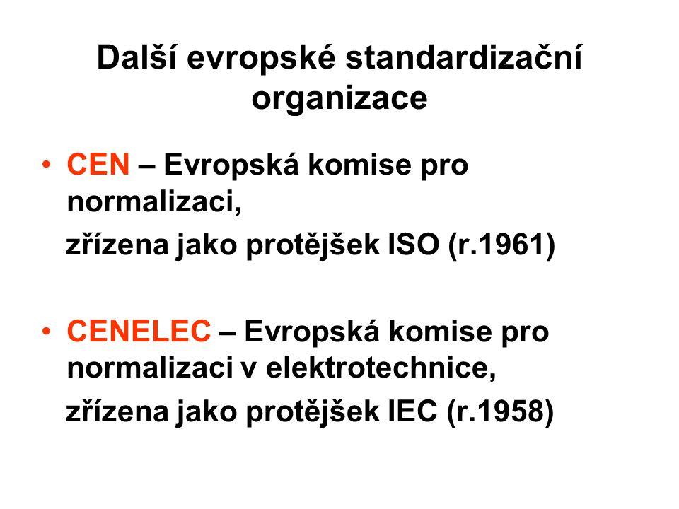 Další evropské standardizační organizace CEN – Evropská komise pro normalizaci, zřízena jako protějšek ISO (r.1961) CENELEC – Evropská komise pro norm