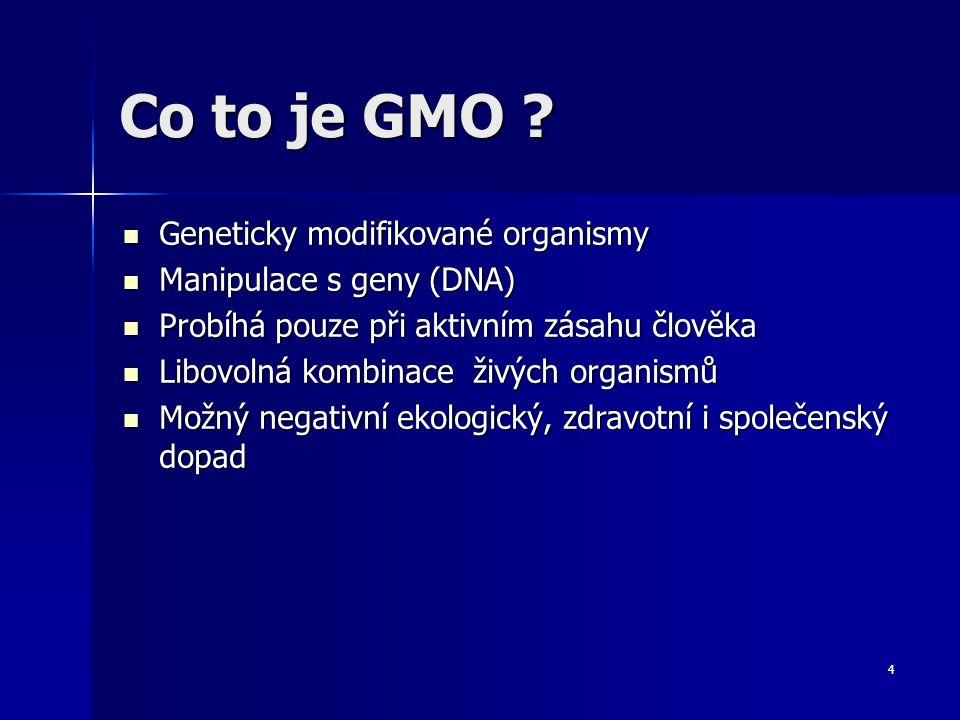 5 Definice GMO Geneticky modifikovaný organismus (GM organismus, GMO) je organismus, jehož genetický materiál (tedy sekvence DNA v buňkách) byl úmyslně změněn; hovoří se o záměrné mutaci.