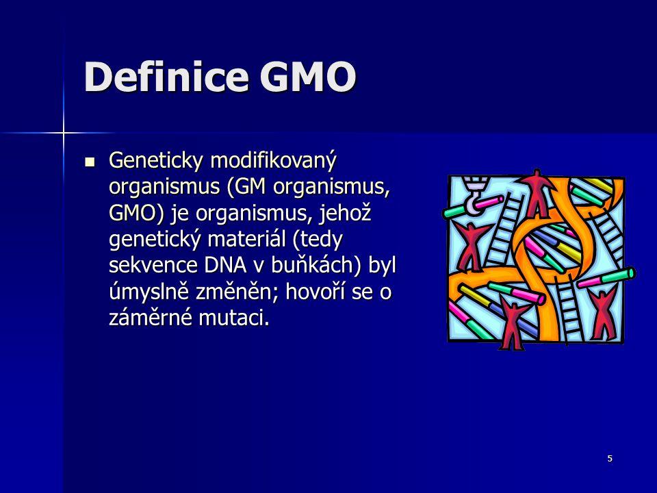 6 Dělení zásahů do organismů Nahodilé zásahy působením mutagenů Nahodilé zásahy působením mutagenů –odrůdy pšenice získané ozařováním jejích semen Cílené zásahy - mutace jsou získané tak, že do rostliny vneseme nebo v ní cíleně deaktivujeme nějaké konkrétní geny Cílené zásahy - mutace jsou získané tak, že do rostliny vneseme nebo v ní cíleně deaktivujeme nějaké konkrétní geny –rostliny, do nichž byl za pomoci bakterie vnesen gen pro odolnost k herbicidům –Genetické inženýrství – kdy je přenesen gen z jiného druhu, organismus se nazývá transgenní organismus a proces se nazývá transgenoze.