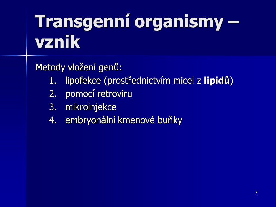 8 GM – živočichové (transgenní živočichové) Obr.