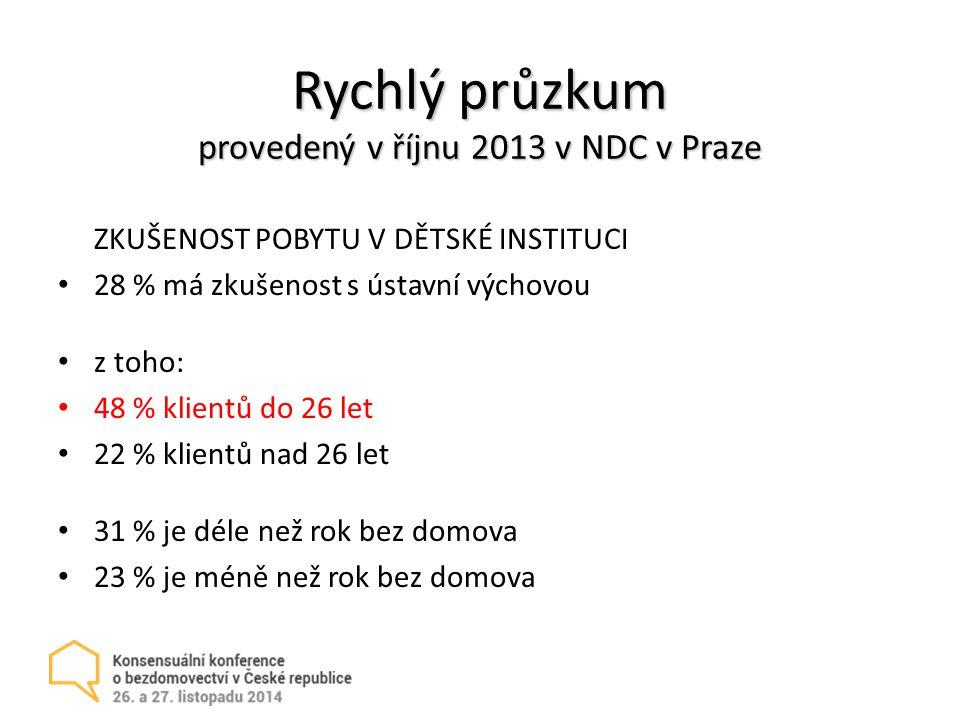 Rychlý průzkum provedený v říjnu 2013 v NDC v Praze ZKUŠENOST POBYTU V DĚTSKÉ INSTITUCI 28 % má zkušenost s ústavní výchovou z toho: 48 % klientů do 26 let 22 % klientů nad 26 let 31 % je déle než rok bez domova 23 % je méně než rok bez domova