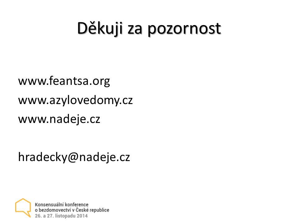 Děkuji za pozornost www.feantsa.org www.azylovedomy.cz www.nadeje.cz hradecky@nadeje.cz