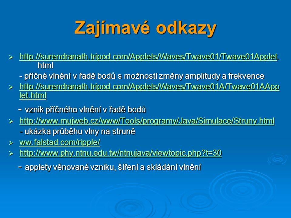 Zajímavé odkazy  http://surendranath.tripod.com/Applets/Waves/Twave01/Twave01Applet. html http://surendranath.tripod.com/Applets/Waves/Twave01/Twave0