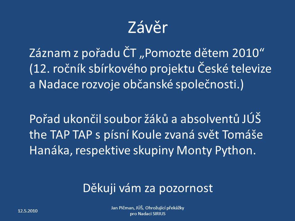 """Závěr Záznam z pořadu ČT """"Pomozte dětem 2010 (12."""