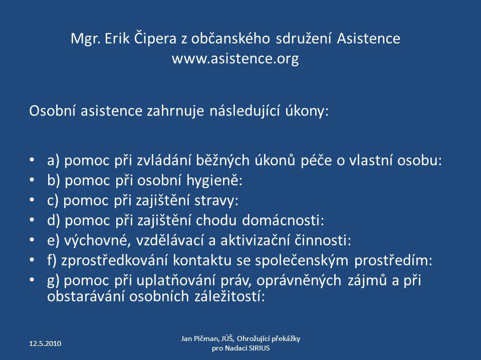 Mgr. Erik Čipera z občanského sdružení Asistence www.asistence.org Osobní asistence zahrnuje následující úkony: a) pomoc při zvládání běžných úkonů pé