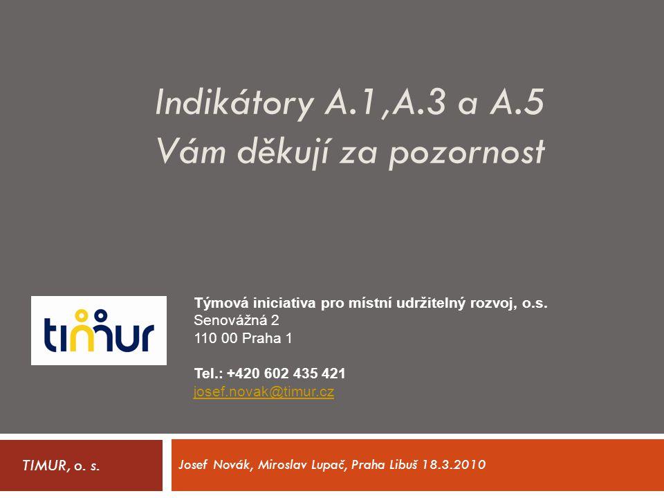 Indikátory A.1,A.3 a A.5 Vám děkují za pozornost TIMUR, o. s. Týmová iniciativa pro místní udržitelný rozvoj, o.s. Senovážná 2 110 00 Praha 1 Tel.: +4