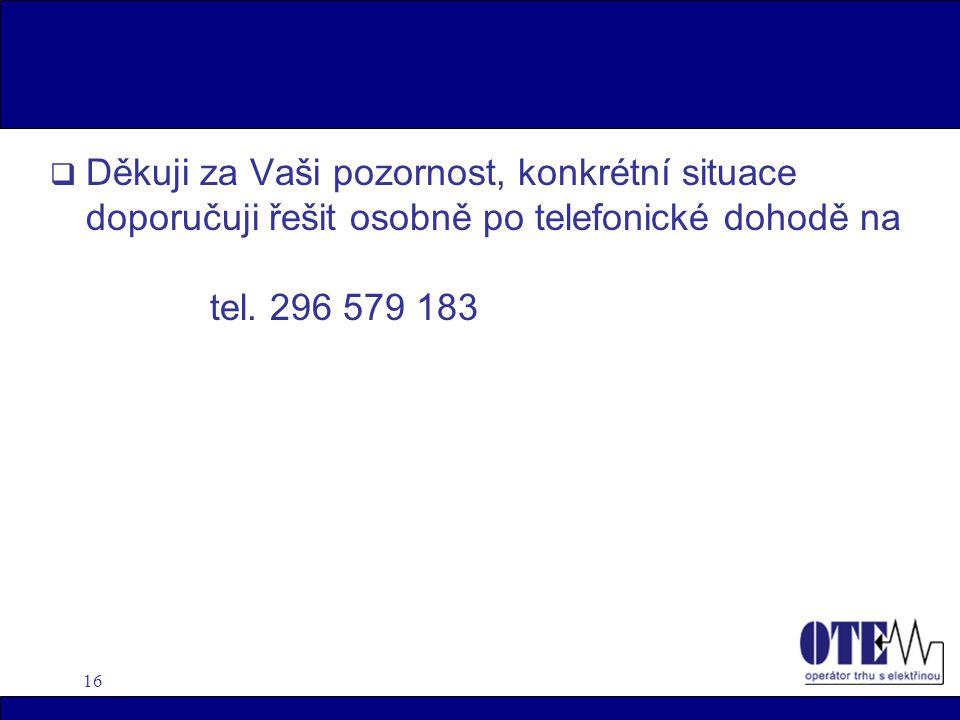 16  Děkuji za Vaši pozornost, konkrétní situace doporučuji řešit osobně po telefonické dohodě na tel.