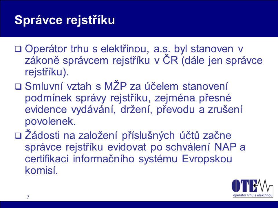 4 Držitel vkladního účtu  Provozovatel zařízení s právoplatným povolením vydaným MŽP.