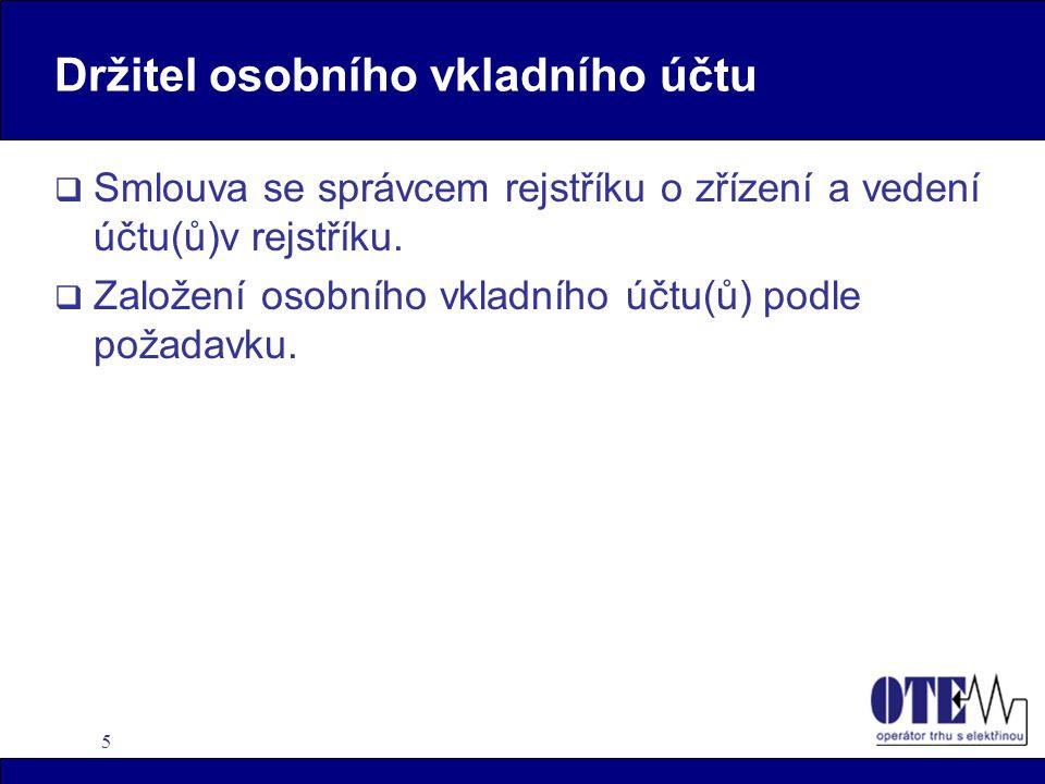 5 Držitel osobního vkladního účtu  Smlouva se správcem rejstříku o zřízení a vedení účtu(ů)v rejstříku.