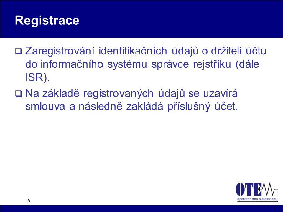 6 Registrace  Zaregistrování identifikačních údajů o držiteli účtu do informačního systému správce rejstříku (dále ISR).