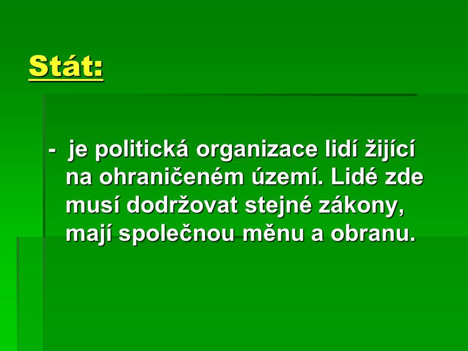 Stát: - je politická organizace lidí žijící na ohraničeném území.