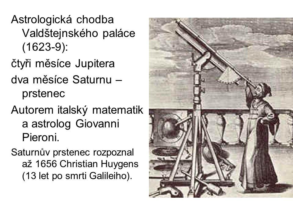 Astrologická chodba Valdštejnského paláce (1623-9): čtyři měsíce Jupitera dva měsíce Saturnu – prstenec Autorem italský matematik a astrolog Giovanni
