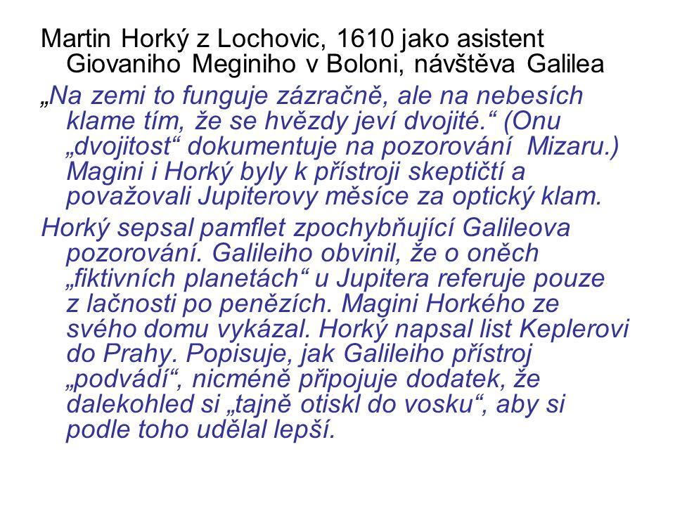"""Martin Horký z Lochovic, 1610 jako asistent Giovaniho Meginiho v Boloni, návštěva Galilea """"Na zemi to funguje zázračně, ale na nebesích klame tím, že"""