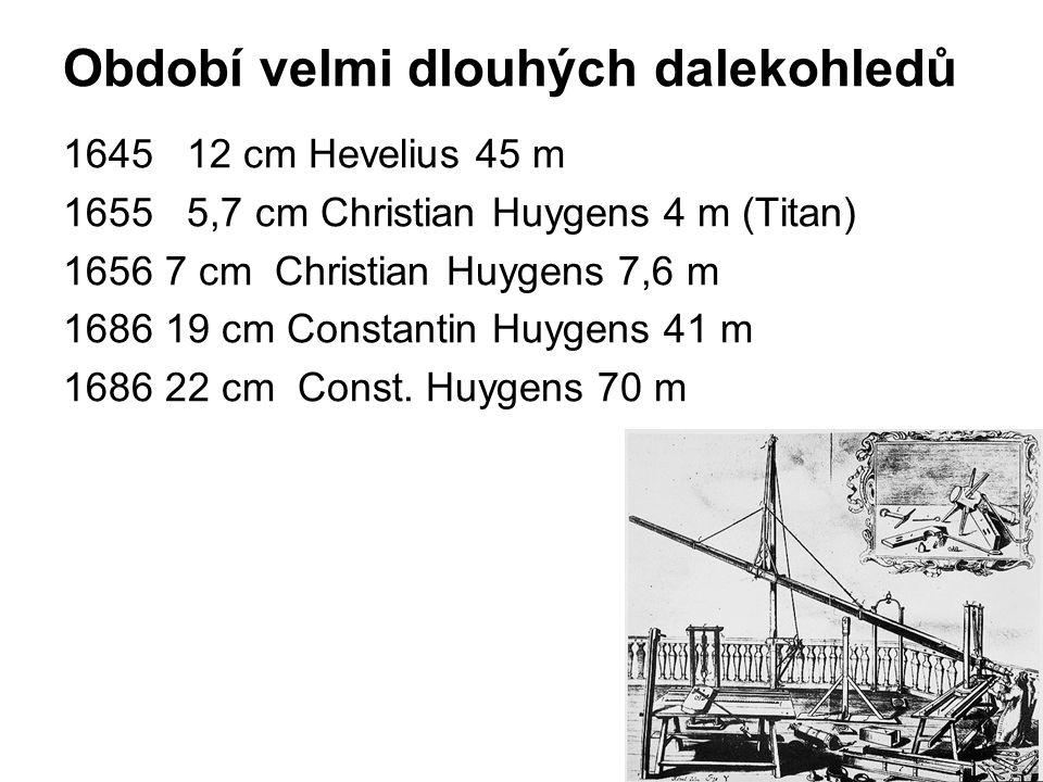 Období velmi dlouhých dalekohledů 1645 12 cm Hevelius 45 m 1655 5,7 cm Christian Huygens 4 m (Titan) 1656 7 cm Christian Huygens 7,6 m 1686 19 cm Cons