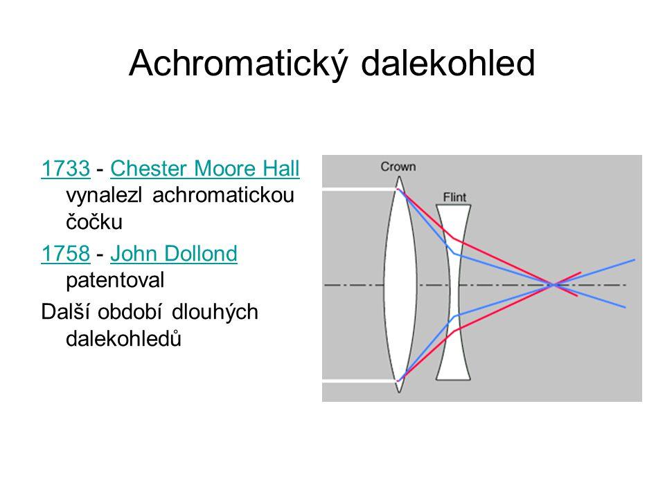 Achromatický dalekohled 17331733 - Chester Moore Hall vynalezl achromatickou čočkuChester Moore Hall 17581758 - John Dollond patentovalJohn Dollond Da