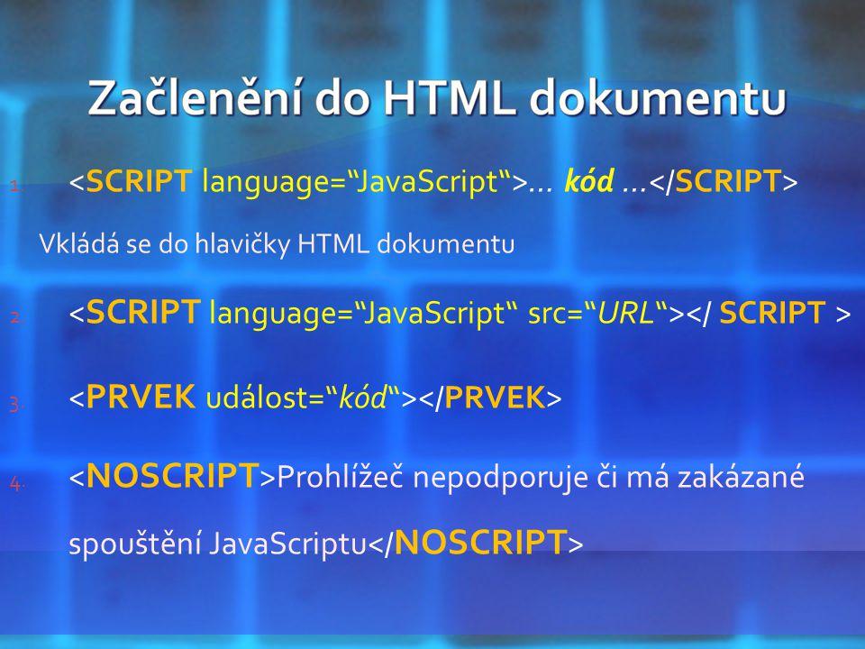1. … kód … Vkládá se do hlavičky HTML dokumentu 2.