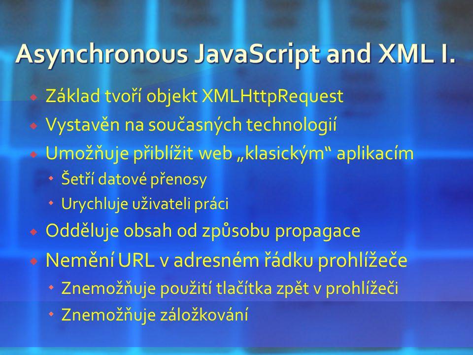 """ Základ tvoří objekt XMLHttpRequest  Vystavěn na současných technologií  Umožňuje přiblížit web """"klasickým aplikacím  Šetří datové přenosy  Urychluje uživateli práci  Odděluje obsah od způsobu propagace  Nemění URL v adresném řádku prohlížeče  Znemožňuje použití tlačítka zpět v prohlížeči  Znemožňuje záložkování"""