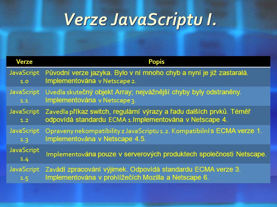 VerzePopis JavaScript 1.0 P ůvodní verze jazyka. Bylo v ní mnoho chyb a nyní je již zastaralá.