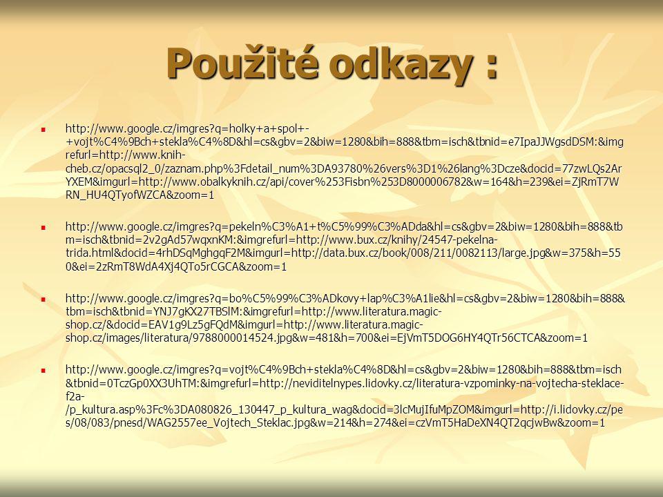 Použité odkazy : http://www.google.cz/imgres?q=holky+a+spol+- +vojt%C4%9Bch+stekla%C4%8D&hl=cs&gbv=2&biw=1280&bih=888&tbm=isch&tbnid=e7IpaJJWgsdDSM:&i