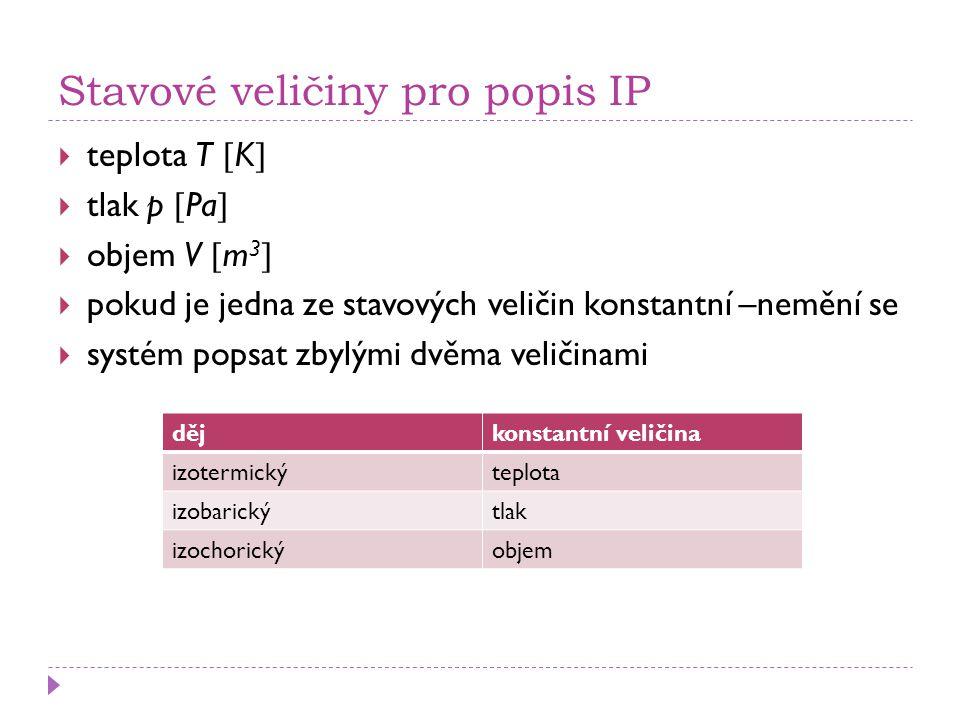 Stavové veličiny pro popis IP  teplota T  K   tlak p  Pa   objem V  m 3   pokud je jedna ze stavových veličin konstantní –nemění se  systém