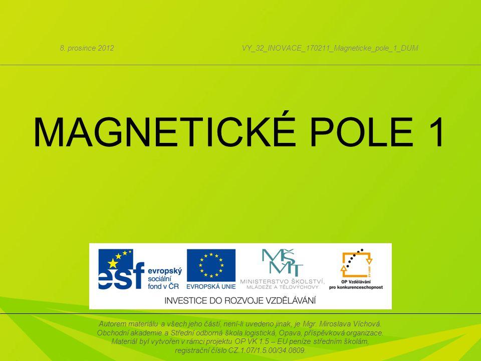 1. Magnety 2. Magnetické pole 3. Magnetická síla 4. Magnetická indukce