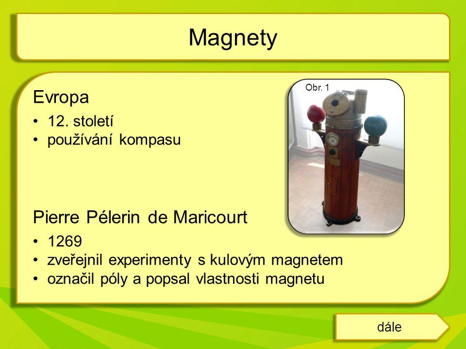 """William Gilbert 1600 zveřejnil dílo """"De Magnete , kde popisuje Zemi jako velký magnet Magnetismem se dále zabývali: René Descartes, Robert Hooke, Isaac Newton Slovo magnet pochází z řeckého magnés – podle zeměpisného názvu """"Magnésia Magnety dále"""