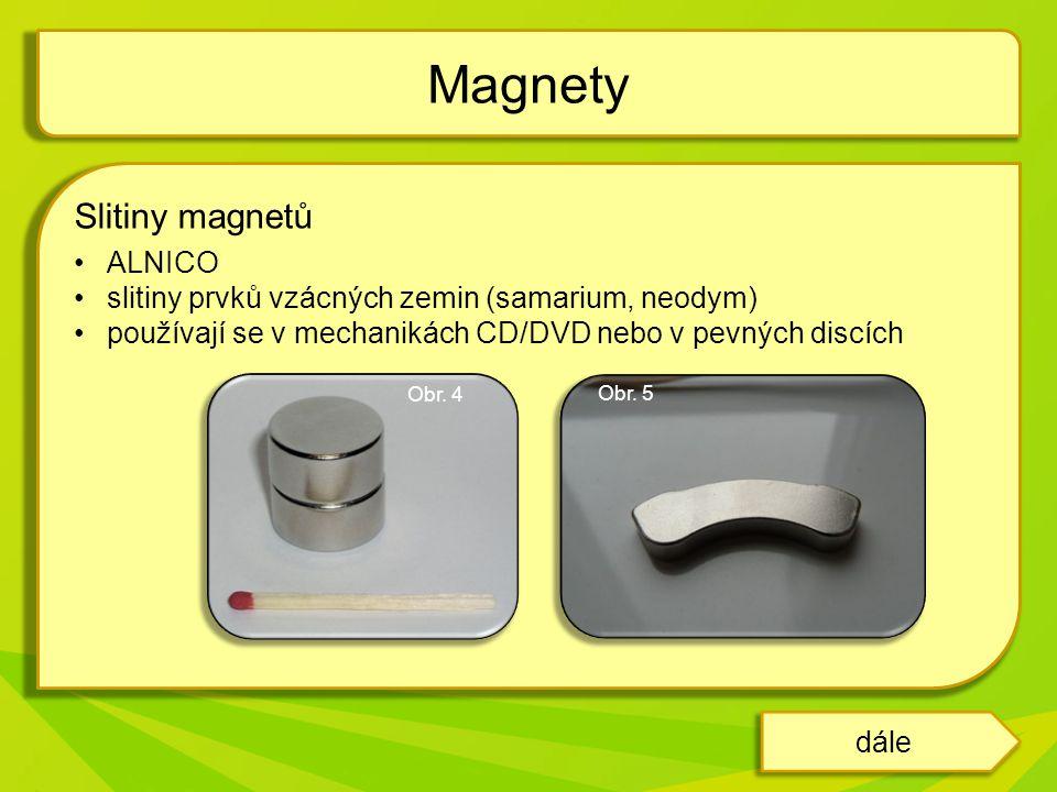 Slitiny magnetů ALNICO slitiny prvků vzácných zemin (samarium, neodym) používají se v mechanikách CD/DVD nebo v pevných discích Magnety dále Obr.