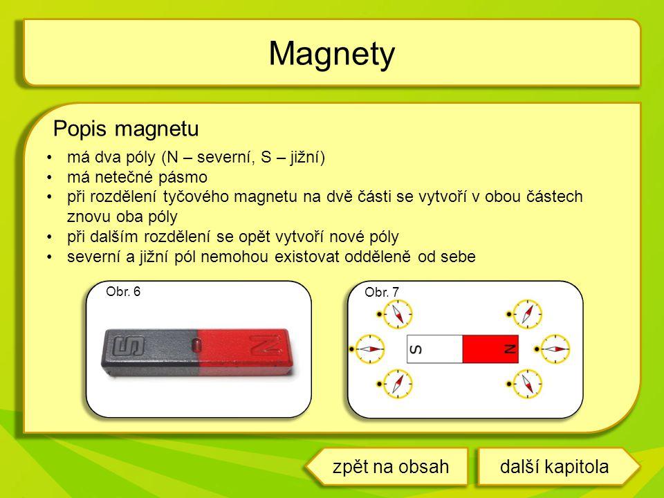 Popis magnetu má dva póly (N – severní, S – jižní) má netečné pásmo při rozdělení tyčového magnetu na dvě části se vytvoří v obou částech znovu oba póly při dalším rozdělení se opět vytvoří nové póly severní a jižní pól nemohou existovat odděleně od sebe Magnety Obr.