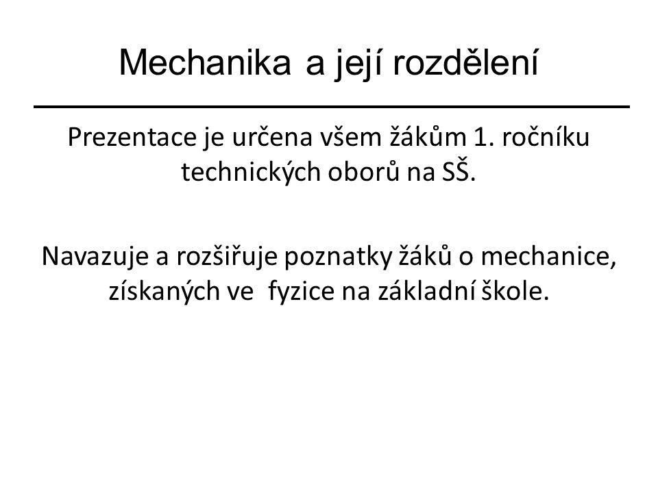 Mechanika a její rozdělení Prezentace je určena všem žákům 1.