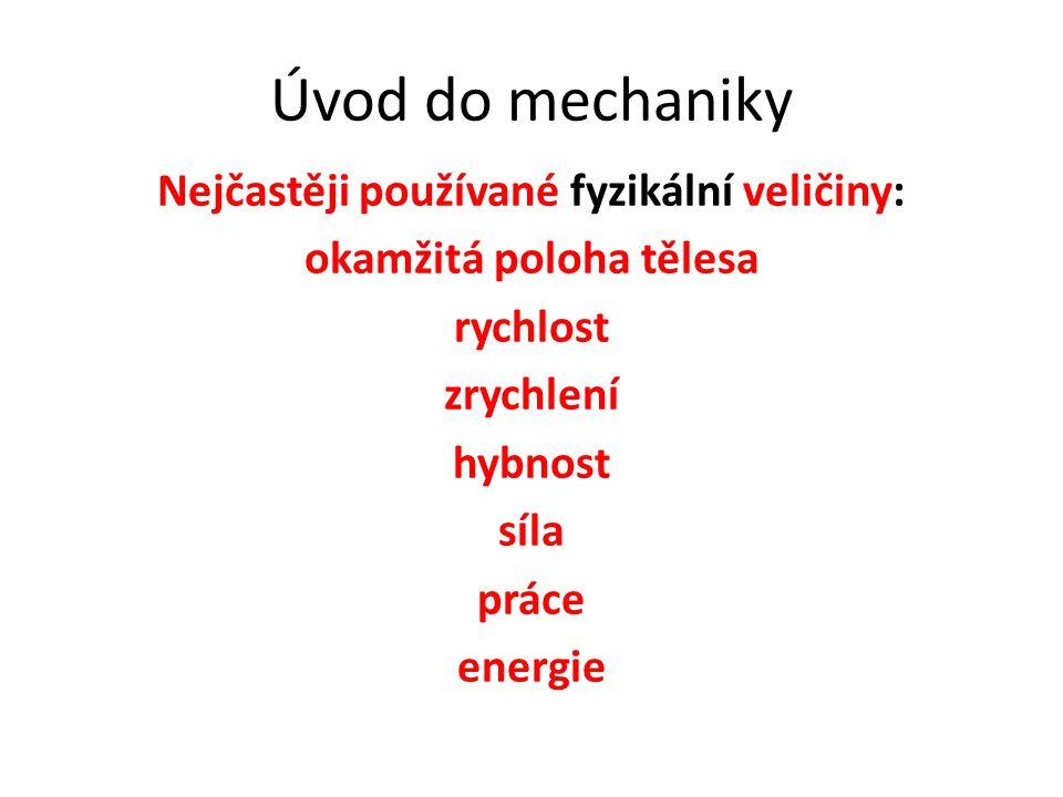 Úvod do mechaniky Nejčastěji používané fyzikální veličiny: okamžitá poloha tělesa rychlost zrychlení hybnost síla práce energie