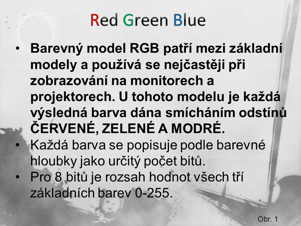 Obr. 1 Barevný model RGB patří mezi základní modely a používá se nejčastěji při zobrazování na monitorech a projektorech. U tohoto modelu je každá výs