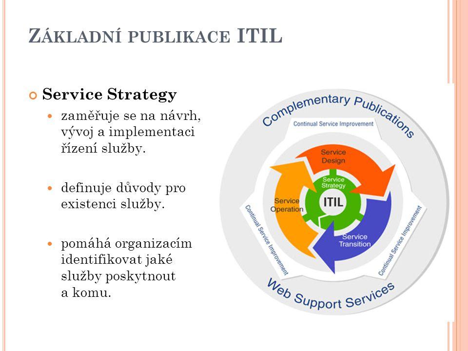 Z ÁKLADNÍ PUBLIKACE ITIL Service Strategy zaměřuje se na návrh, vývoj a implementaci řízení služby.