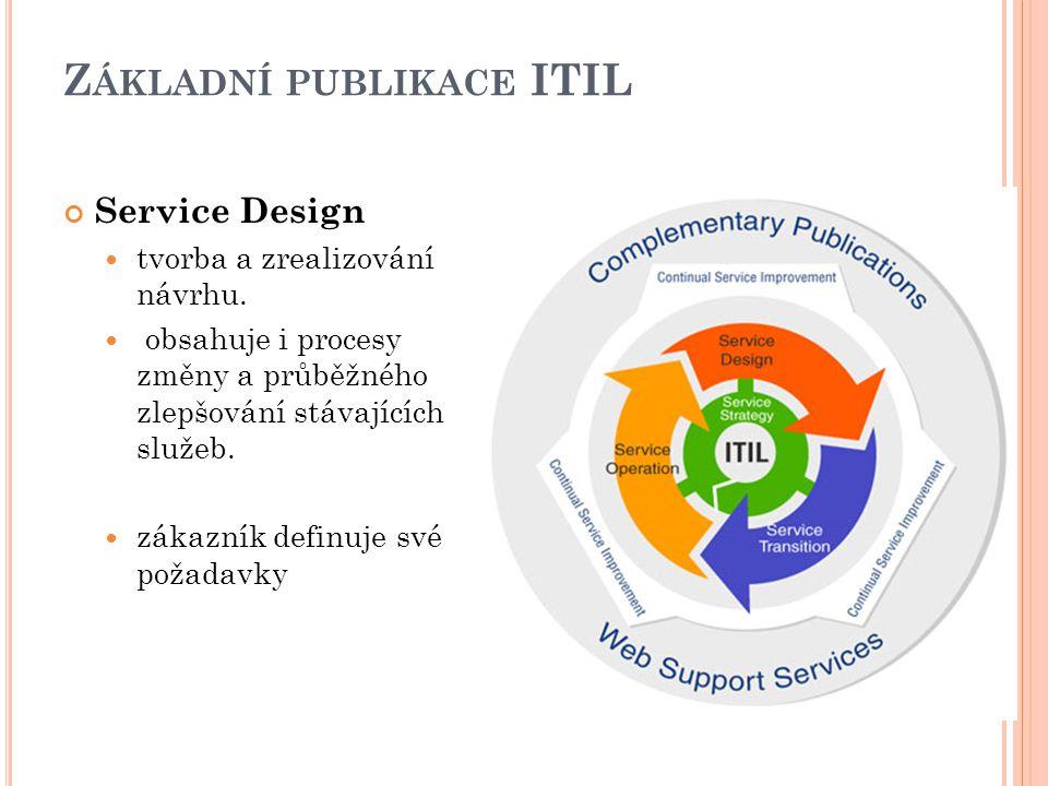 Z ÁKLADNÍ PUBLIKACE ITIL Service Design tvorba a zrealizování návrhu.
