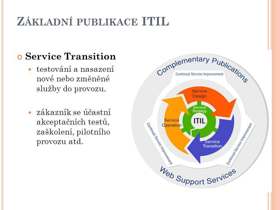 Z ÁKLADNÍ PUBLIKACE ITIL Service Transition testování a nasazení nové nebo změněné služby do provozu.