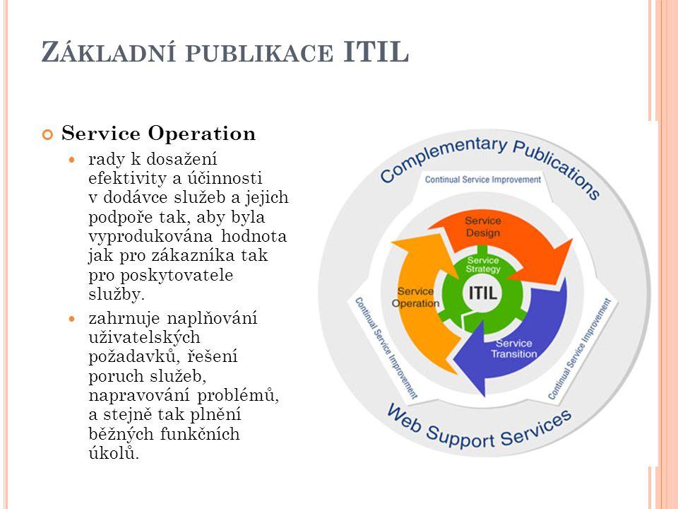 Z ÁKLADNÍ PUBLIKACE ITIL Service Operation rady k dosažení efektivity a účinnosti v dodávce služeb a jejich podpoře tak, aby byla vyprodukována hodnota jak pro zákazníka tak pro poskytovatele služby.
