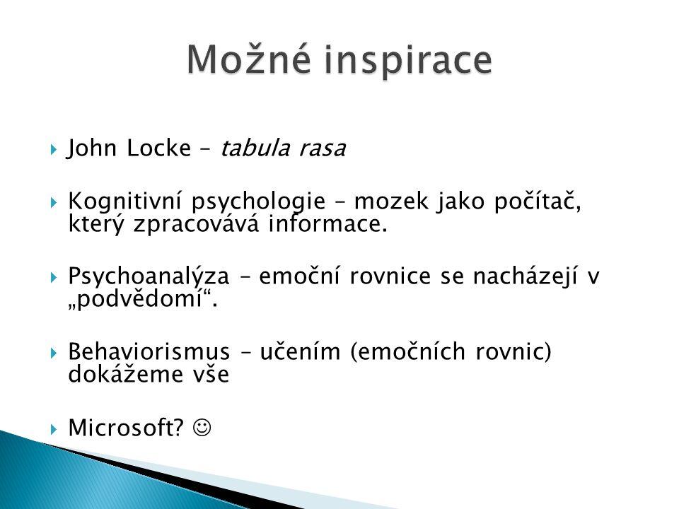  John Locke – tabula rasa  Kognitivní psychologie – mozek jako počítač, který zpracovává informace.  Psychoanalýza – emoční rovnice se nacházejí v