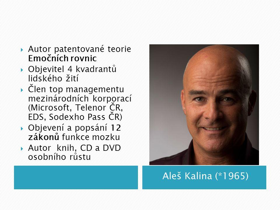 Aleš Kalina (*1965)  Autor patentované teorie Emočních rovnic  Objevitel 4 kvadrantů lidského žití  Člen top managementu mezinárodních korporací (M