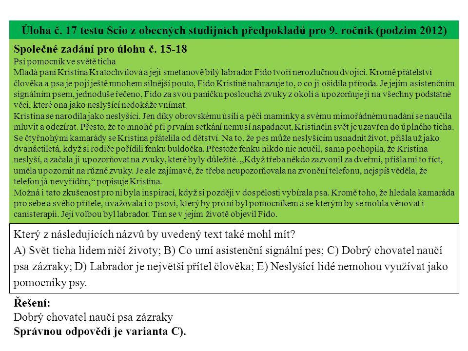 Úloha č.17 testu Scio z obecných studijních předpokladů pro 9.