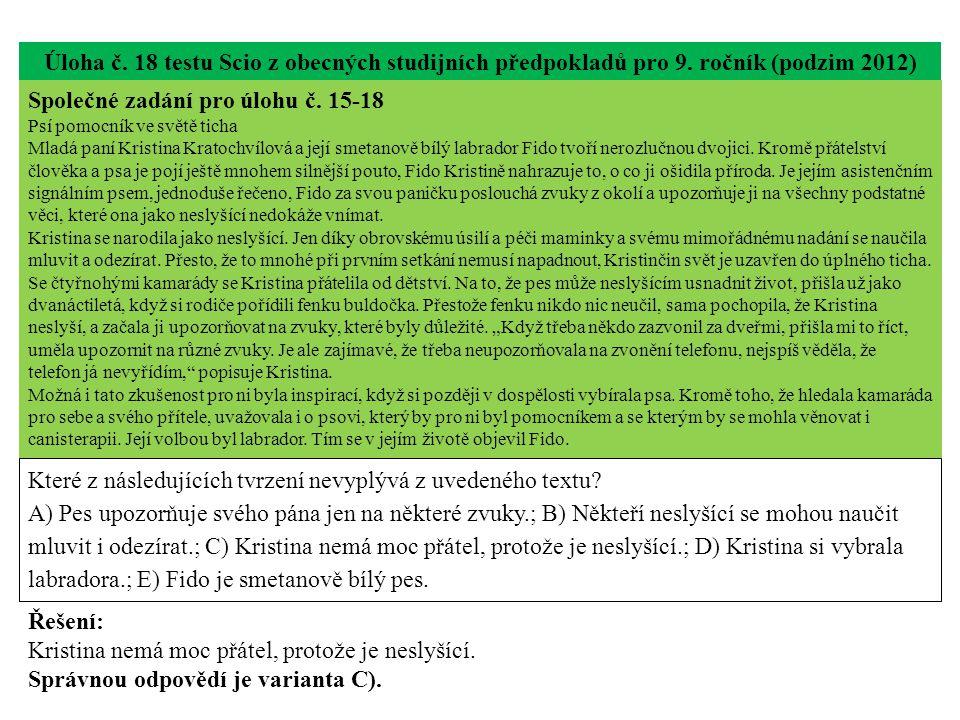 Úloha č.18 testu Scio z obecných studijních předpokladů pro 9.