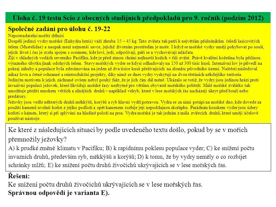 Úloha č.19 testu Scio z obecných studijních předpokladů pro 9.